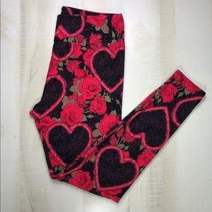 Lularoe Pants Hearts and Roses Leggings Red Black